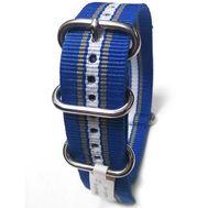 Ремешок для часов NATO, 22 мм, синий с серыми полосами, фото 1