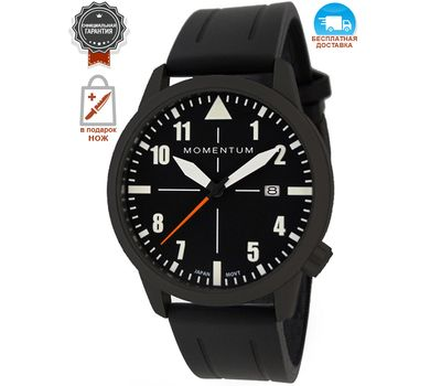 Часы Momentum Fieldwalker Automatic Black-ION, каучуковый ремешок