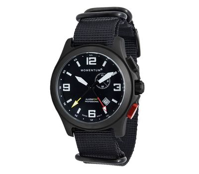 Часы Momentum Vortech GMT Alarm BLACK-ION (нато, сапфир), фото 1