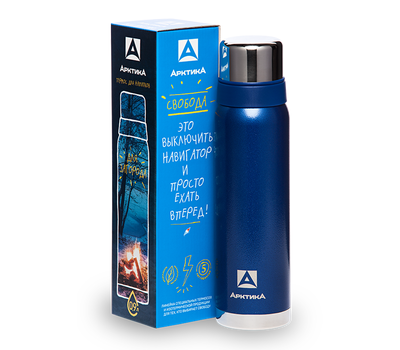 Термос Арктика 1.2 литра, американский дизайн, с узким горлом, синий 106-1200, фото 3