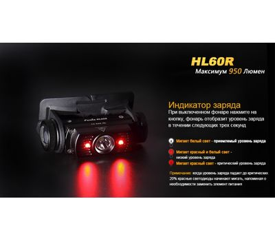 Налобный фонарь Fenix HL60R Cree XM-L2 U2 Neutral White LED, фото 19