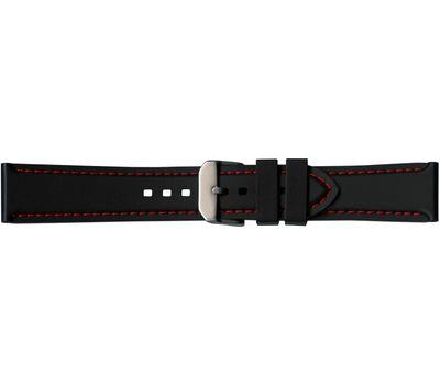 Каучуковый ремешок для часов №104, 22 мм, с красной строчкой, фото 1
