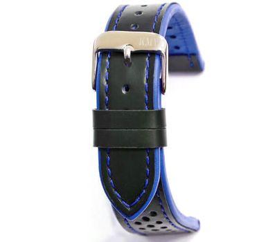Ремешок для часов 22 мм, чёрный с синей строчкой KMV, фото 1