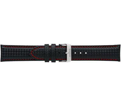 Кожаный ремешок для часов №58, чёрный с красной строчкой, фото 1