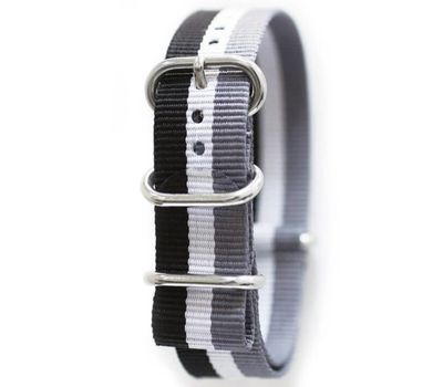 Нейлоновый ремешок для часов NATO, 22 мм, 3 полосы, серо-чёрный, фото 1
