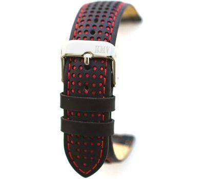 Ремешок для часов 22 мм, чёрный с красной строчкой KMV, фото 1