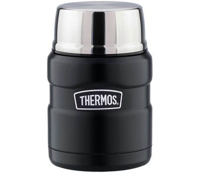 Термос для еды с широким горлом Thermos чёрный, с ложкой SK3000-BK, фото 1