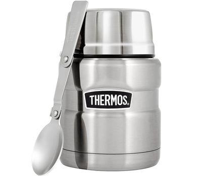 Термос для еды с широким горлом Thermos стальной, с ложкой SK3000, фото 1