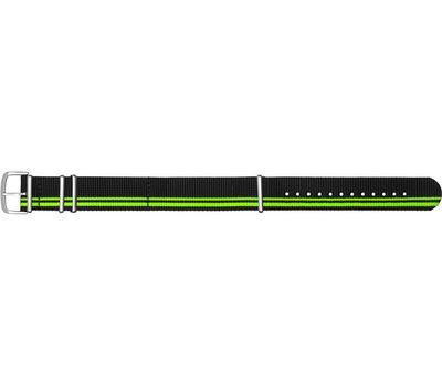Текстильный ремешок для часов чёрно-зелёный НАТО №62, фото 1