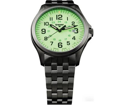Часы Traser P67 Officer Pro GunMetal Lime, стальной браслет, фото 1