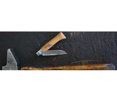 Складной нож Opinel №7, углеродистая сталь, рукоять из дерева бука