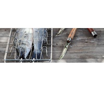 Складной филейный нож Opinel №10, нержавеющая сталь, рукоять из дерева бука