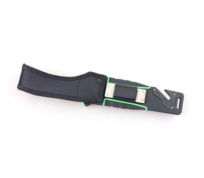 Нож выживальщика Ganzo G8012 LG с огнивом, чёрный с зелёным