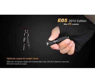 Фонарь брелок на ключи Fenix E05 чёрный 85 люмен