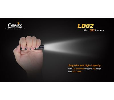 Компактный яркий фонарь брелок Fenix LD02, 100 люмен
