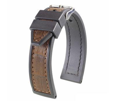 Ремешок на часы комбинированный: кожа / каучук, №124, 20 мм, фото 2