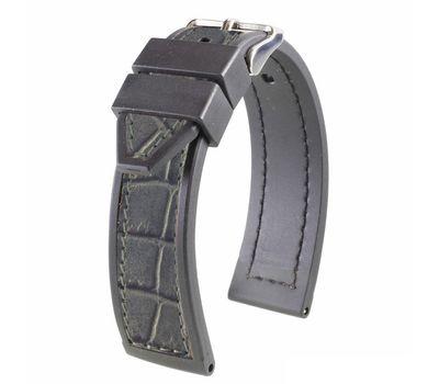 Ремешок для часов серый, кожа / каучук №126, 20 мм, фото 2
