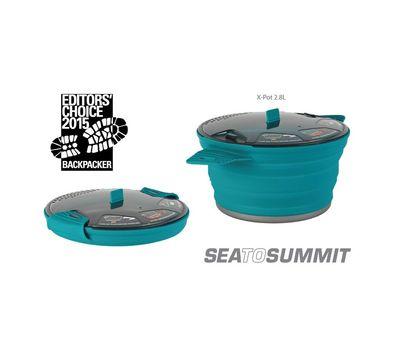 Складная силиконовая кастрюля с жестким дном Sea to Summit X-Pot 2.8L Pacific Blue, фото 2
