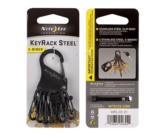 Набор карабинов Nite Ize KeyRack S-Biner Steel Black KRS 03 01