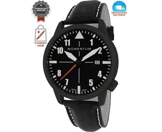 Часы Momentum Fieldwalker Automatic Black-ION, кожаный ремешок