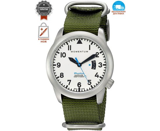 Часы Momentum Flatline Field Lum, сапфир, нато зелёный