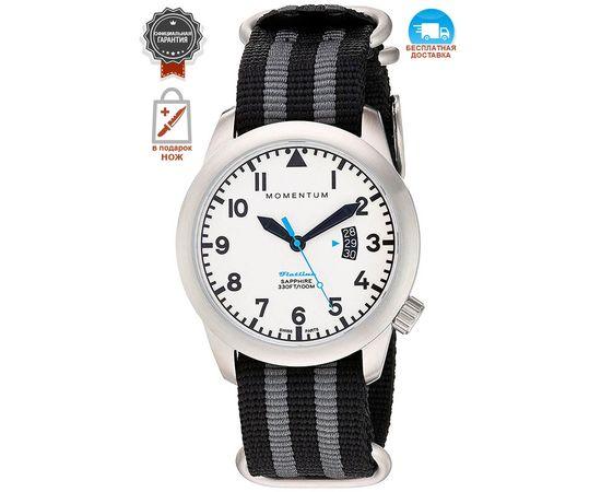 Часы Momentum Flatline Field Lum, сапфир, нато полосатый