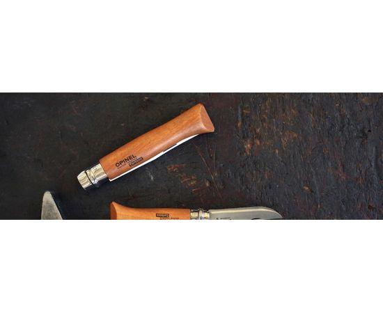 Складной нож Opinel №10, углеродистая сталь, рукоять из дерева бука