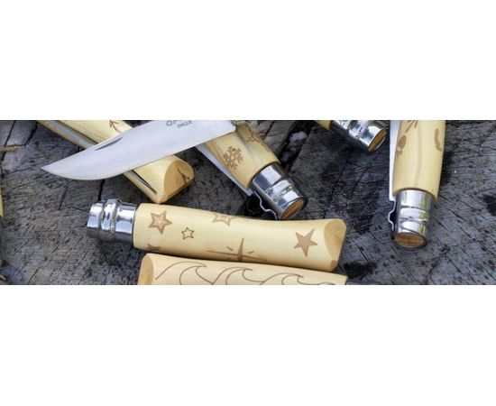 Складной нож Opinel №7 Nature, нержавеющая сталь, рукоять самшит, гравировка звезды
