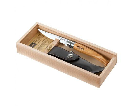 Складной нож Opinel №10, нержавеющая сталь, рукоять оливковое дерево, чехол, деревянный футляр