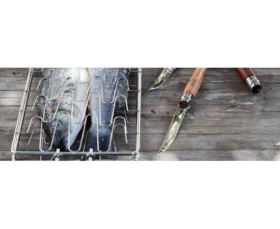Складной филейный нож Opinel №10, нержавеющая сталь, рукоять оливковое дерево