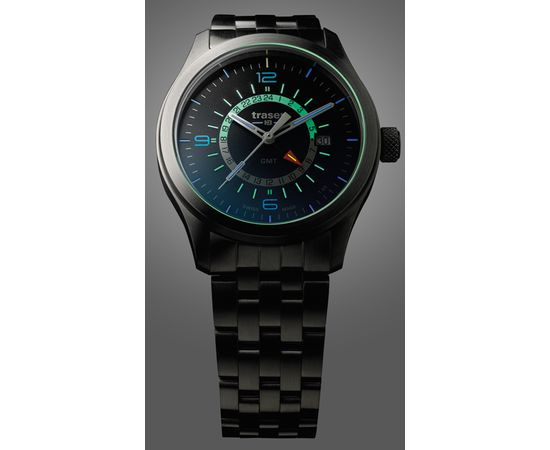 Мужские часы Traser P59 Aurora GMT Blue, стальной браслет