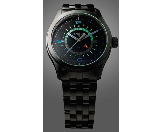 Мужские часы Traser P59 Aurora GMT Silver, стальной браслет
